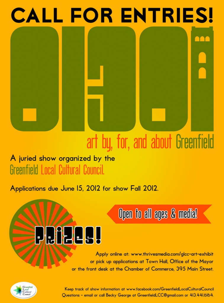 "Call for entries poster for ""01301: Art by, for, and about Greenfield"""